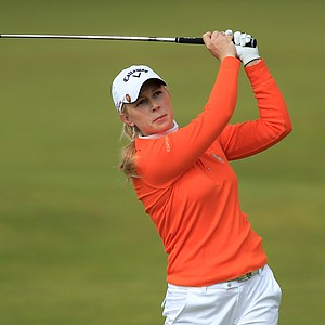 Morgan Pressel of the USA hits an approach shot during the second round of the 2011 Ricoh Women's British Open at Carnoustie on July 29, 2011 in Carnoustie, Scotland.