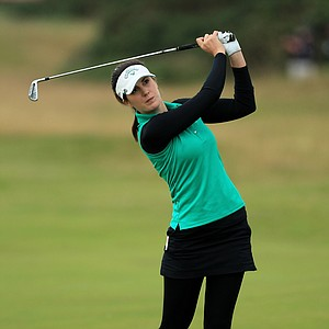 Sandra Gal of Germany hits an approach shot during the second round of the 2011 Ricoh Women's British Open at Carnoustie on July 29, 2011 in Carnoustie, Scotland.