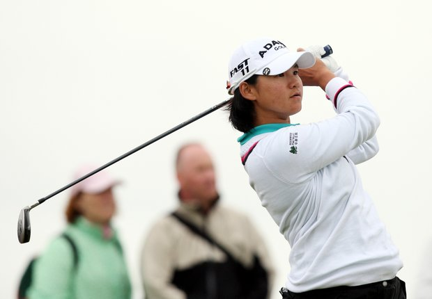 Taiwan's Yani Tseng, plays her tee shot on the sixteenth during the first round of the Women's British Open at Carnoustie Golf Club, Carnoustie, Scotland, Thursday July 28, 2011.