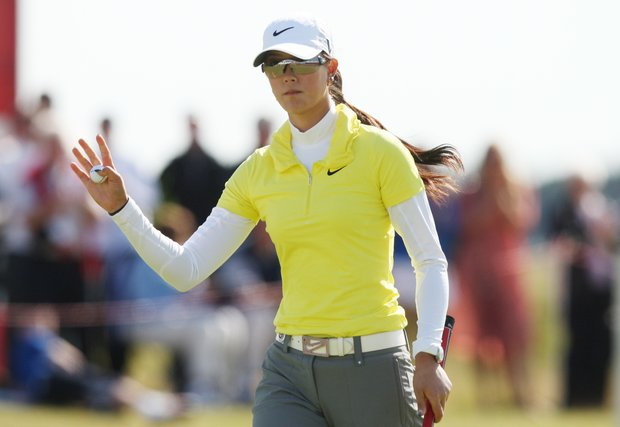 Michelle Wie of the USA reacts on the eighteenth as she finished her round during the Second round of the Women's British Open at Carnoustie Golf Club, Carnoustie, Scotland, Friday July 29, 2011.