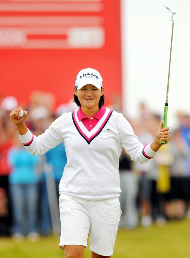 Taiwan's Yani Tseng, celebrates after winning the Women's British Open at Carnoustie Golf Club, Carnoustie, Scotland, Sunday July 31, 2011.