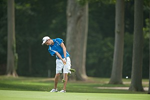 Zachary Wright on the 15th hole during the second round of play at the 36th Junior PGA Championship, at Sycamore Hills Golf Club in Fort Wayne, Indiana, USA, on Wednesday, August 3, 2011.