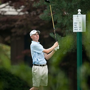 Connor Black tees off on the 15th hole during the second round of play at the 36th Junior PGA Championship, at Sycamore Hills Golf Club in Fort Wayne, Indiana, USA, on Wednesday, August 3, 2011.