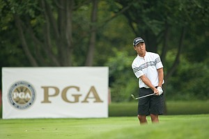 David Lee on the 15th hole during the second round of play at the 36th Junior PGA Championship, at Sycamore Hills Golf Club in Fort Wayne, Indiana, USA, on Wednesday, August 3, 2011.