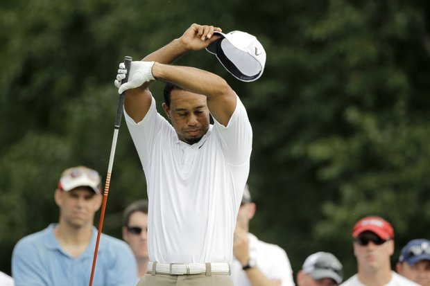 Tiger Woods during the second round of the Bridgestone Invitational golf tournament at Firestone Country Club in Akron, Ohio Friday, Aug. 5, 2011.