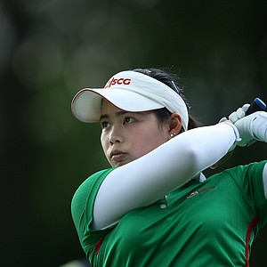 Moriya Jutanugarn hits her tee shot at No. 12.