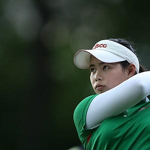 Moriya Jutanugarn hits her tee shot at No. 12.