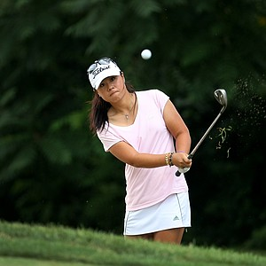Danielle Kang hits a shot at No. 13 during Monday stroke play.