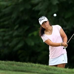 Danielle Kang hits a shot at No. 13 during Monday stroke play.