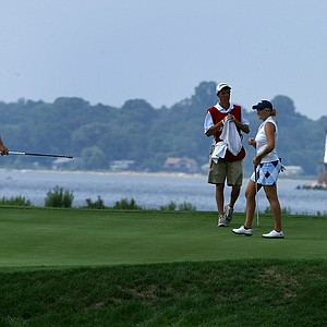 The Narragansett Bay can be seen in the background of hole No. 17 during Monday stroke play of the U. S. Women's Amateur Championship at Rhode Island Country Club in Barrington, Rhode Island.