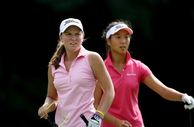 Austin Ernst and Cindy Ha during Monday stroke play of the U. S. Women's Amateur Championship at Rhode Island Country Club in Barrington, Rhode Island.