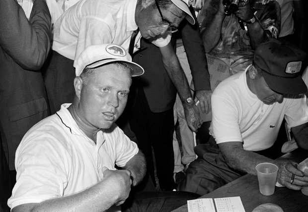 Jack Nicklaus sits in the Scorers tent as he checks out after winning the PGA championship with a 72-hole score of 279 in Dallas, Texas, July 21, 1963.