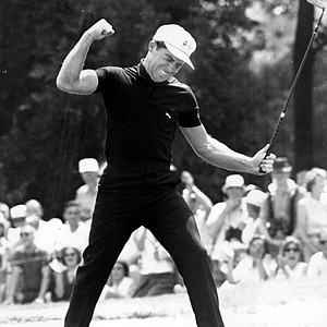 Gary Player reacts after he birdies the seventh hole in the final round of the 65th U.S. Open Golf Championship at Bellerive Country Club in St. Louis, Mo., on June 20, 1965.