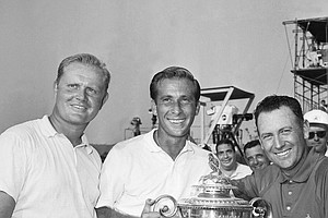 Dave Marr, who copped the PGA Championship in a down-to-the wire battle on Aug. 15, 1965 at Ligonier, Pa., is flanked by Jack Nicklaus, left and Billy Casper, right, who wound up in a tie for second. Marr, Larchmont, N.Y., pro, won trophy and $25,000 while Nick lays and Casper split second and third money for $12,500 each.