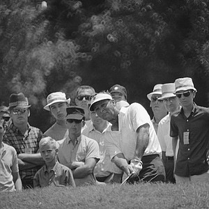 Arnold Palmer chips up to the 16th hole during second round play today in the PGA National Championship, July 19, 1968, San Antonio, Tex. Prior to this Palmer had three birdies in a row. He parred the hole to finish the day even.