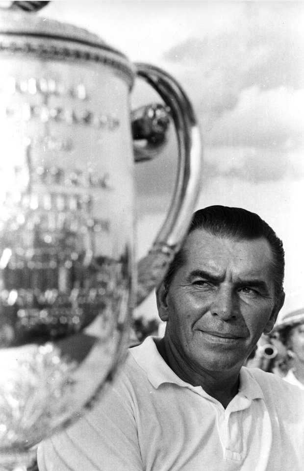 Julius Boros waits for the presentation ceremony to begin, at the PGA National Championship, in San Antonio, Texas, on July 22, 1968. Boros won the tourney with 1-over-par 281 to take the prize money of $25,000.