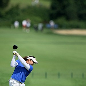 Ariya Jutanugarn hits her tee shot at No. 16 during Tuesday stroke play.