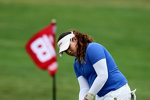 Ariya Jutanugarn hits a shot at No. 18 during Tuesday stroke play of the U. S. Women's Amateur Championship. Jutanugarn is the current U. S. Junior Champion and the PGA Junior Champion.