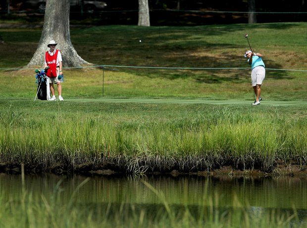 Alexandra Frazier and her caddie Bob Fleming at No. 6 during Tuesday stroke play of the U. S. Women's Amateur Championship at Rhode Island Country Club in Barrington, Rhode Island.