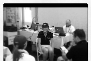Lydia Ko of New Zealand talks with the media after taking the clubhouse lead after Tuesday's play.