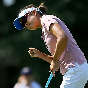 Stephanie Kono pumps her fist after taking her match 19-holes during the Round of 64.