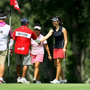 Erynne Lee defeated Mariel Galdiano, 6 & 4, during the Round of 64  at the U. S. Women's Amateur Championship at Rhode Island Country Club in Barrington, Rhode Island.