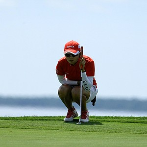 Jihee Kim lost to Elyse Smidinger during the Round of 64 at the U. S. Women's Amateur Championship at Rhode Island Country Club in Barrington, Rhode Island.