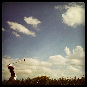 Austin Ernst hits her tee shot at No. 18 during her Round of 64.
