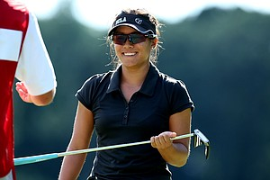 Stephanie Kono during the Round of 16 at the U. S. Women's Amateur Championship. She defeated her teammate Tiffany Lua.