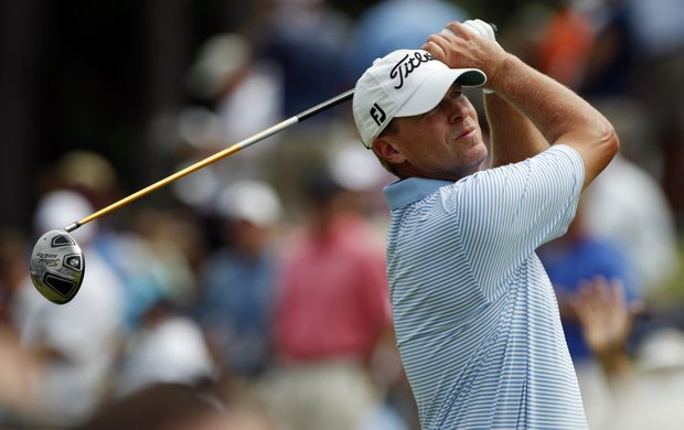 Steve Stricker hits a drive on the second hole during the first round of the PGA Championship golf tournament Thursday, Aug. 11, 2011, at the Atlanta Athletic Club in Johns Creek, Ga.