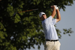 Steve Stricker hits a drive on the 10th hole during the first round of the PGA Championship golf tournament Thursday, Aug. 11, 2011, at the Atlanta Athletic Club in Johns Creek, Ga.