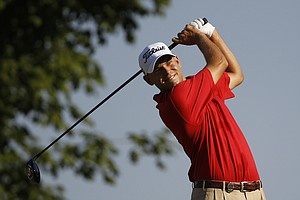 Bill Haas hits a drive on the 10th hole during the first round of the PGA Championship golf tournament Thursday, Aug. 11, 2011, at the Atlanta Athletic Club in Johns Creek, Ga.