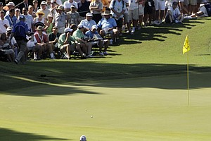 Tiger Woods makes his way up to the 15th green during the first round of the PGA Championship golf tournament Thursday, Aug. 11, 2011, at the Atlanta Athletic Club in Johns Creek, Ga.