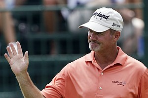 Jerry Kelly reacts after making a birdie putt on the sixth hole during the first round of the PGA Championship golf tournament Thursday, Aug. 11, 2011, at the Atlanta Athletic Club in Johns Creek, Ga.