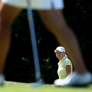 Brooke Pancake watches her chip at No. 6 during the Quarterfinals. Pancake advances to the Semis to face defending champion, Danielle Kang.