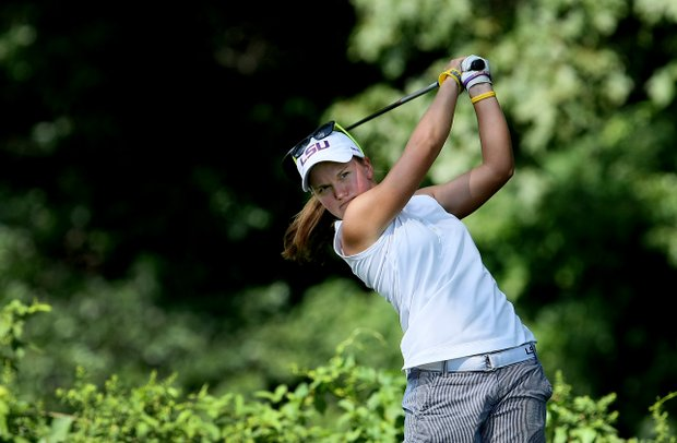 Austin Ernst hits her tee shot at No. 11 during the Quarterfinals. Ernst defeated Stephanie Kono.