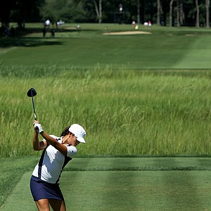 Demi Frances Runas hits her tee shot at No. 7 during the Quarterfinals. Runas lost to Danielle Kang 4 & 3.