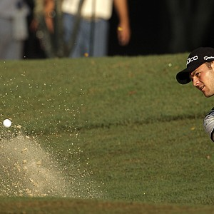 Martin Kaymer, of Germany, hits out of a bunker on the 12th hole during the second round of the PGA Championship golf tournament Friday, Aug. 12, 2011, at the Atlanta Athletic Club in Johns Creek, Ga.