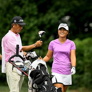 Danielle Kang with her father/caddie, K. S. Kang during the semifinals at the U. S. Women's Amateur Championship at Rhode Island Country Club in Barrington, Rhode Island.