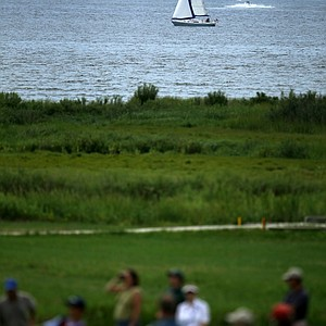 A sailboat coasts in Narragansett Bay during the semifinals at the U. S. Women's Amateur Championship at Rhode Island Country Club in Barrington, Rhode Island.