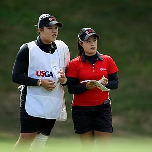 Moriya Jutanugarn, right, and her sister, Ariya during the semifinals at the U. S. Women's Amateur Championship at Rhode Island Country Club in Barrington, Rhode Island.