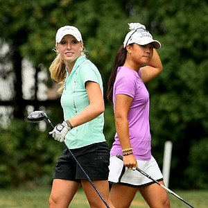 Brooke Pancake and Danielle Kang during the semifinals at the U. S. Women's Amateur Championship at Rhode Island Country Club in Barrington, Rhode Island.
