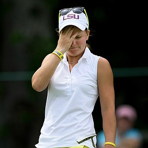 Austin Ernst reacts to missing her putt at No. 18 during the semifinals at the U. S. Women's Amateur Championship at Rhode Island Country Club in Barrington, Rhode Island.