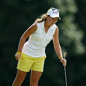 Austin Ernst after missing her putt at No. 3 during the semifinals at the U. S. Women's Amateur Championship at Rhode Island Country Club in Barrington, Rhode Island.