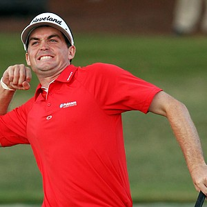Keegan Bradley celebrates his victory over Jason Dufner on the third playoff hole during the final round of the 93rd PGA Championship at the Atlanta Athletic Club on August 14, 2011 in Johns Creek, Georgia.