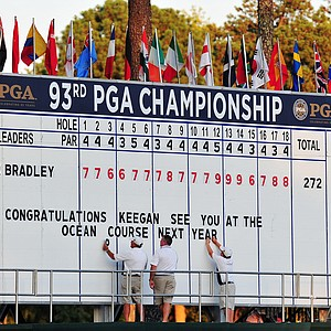 The final leaderboard is seen after Keegan Bradley defeated Jason Dufner during a three-hole playoff during the final round of the 93rd PGA Championship at the Atlanta Athletic Club on August 14, 2011 in Johns Creek, Georgia.