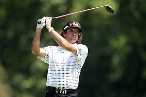 Bubba Watson watches his tee shot on the 14th hole during the final round of the 93rd PGA Championship at the Atlanta Athletic Club on August 14, 2011 in Johns Creek, Georgia.