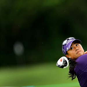 Danielle Kang hits her tee shot at No. 16 during the final round at the U. S. Women's Amateur Championship at Rhode Island Country Club in Barrington, Rhode Island.