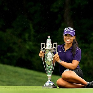 Danielle Kang with the trophy after winning the 2011 U. S. Women's Amateur Championship at Rhode Island Country Club in Barrington, Rhode Island.