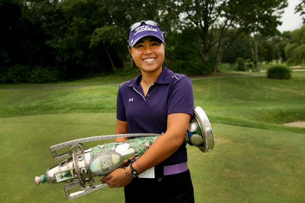 Danielle Kang and the trophy during the final round at the U. S. Women's Amateur Championship at Rhode Island Country Club in Barrington, Rhode Island.